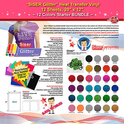 Siser Glitter Heat Transfer Vinyl 12 Sheets 20x12 12 Colors Starter Bundle