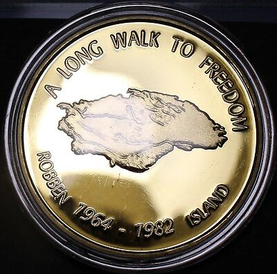 Nelson Mandela Gold Plated 40.2mm Proof Medallion~Read The Story~Robben Island~ for sale  Shipping to South Africa