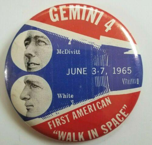 1965 Gemini 4 McDivitt White First American Walk In Space Pinback Button NASA