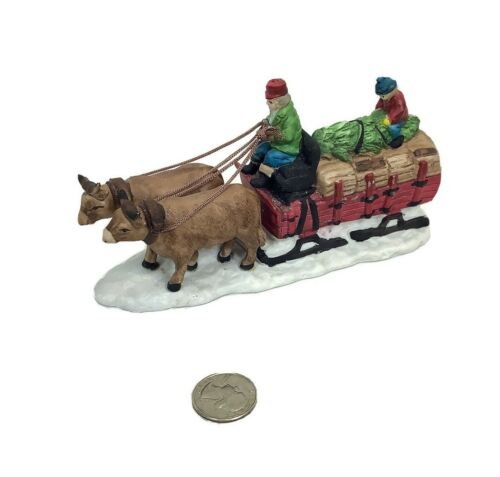 Dept 56 Dickens Village Series Retired Ox Sled Wagon People Christmas Figure