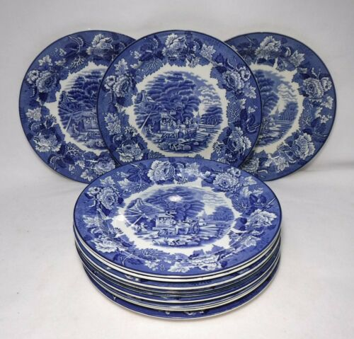 """WOOD & SONS china ENGLISH SCENERY Blue pattern Set of 12 Dinner Plates - 10-1/8"""""""
