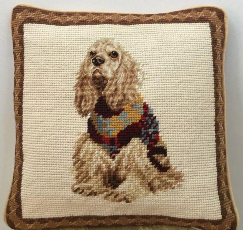 "Brand New Cocker Spaniel Dog Handmade Needlepoint Pillow 10"" by 10"""