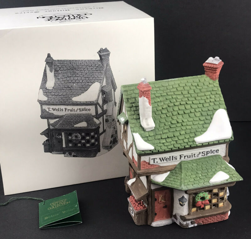 Department 56 Dickens Christmas Village T. Wells Fruit and Spice Shop 1988