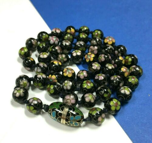 Vintage CHINESE CLOISONNE Enamel Beaded Necklace Hand Knotted Black Green NN126o
