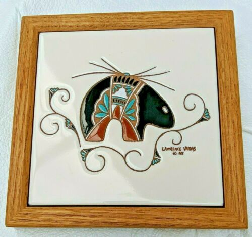 Lawrence Vargas 1988 Framed Handpainted Tile South West folk art Bear