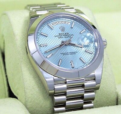 Rolex Platinum DAY-DATE 228206 40mm Ice Blue Diagonal Motif Dial B/ PAPER *NEW*