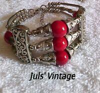 Bracciale Vintage Anni'40 Opale Rosso Cubic,lega Argento-brunito:grazioso Design -  - ebay.it