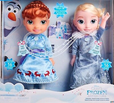Disney Frozen Singing Sisters Traditions Anna and Elsa Talking Light Dolls