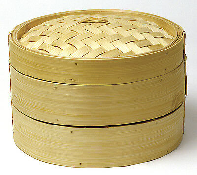 Norpro 1963 Bamboo Steamer 2 Tier 3 Piece For Vegetables Dumplings Fish Meats on sale