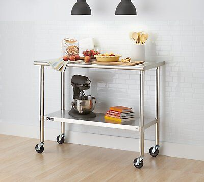 Trinity Ecostorage Nsf Stainless Steel Table With Wheels 48 Wide 38 High