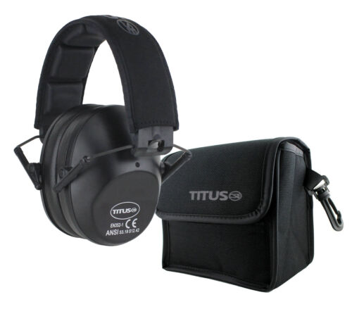 TITUS Shooting Gun Range Noise Reduction Ear Muffs High 34 NRR Protection Slim