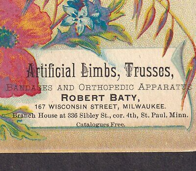 Victorian Prosthetics Milwaukee St Paul Robert Baty Artifical Limbs Trade Card