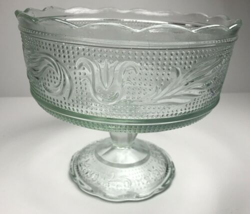 E.O. Brody CO M6000 Clevland USA Clear Glass Candy Compote Pedestal Dish Bowl