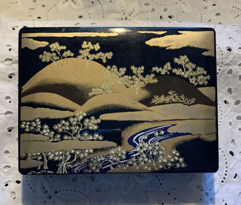 Vintage Japanese Jewelry Trinket Box Japan Landscape Lacquer Melamine Gold