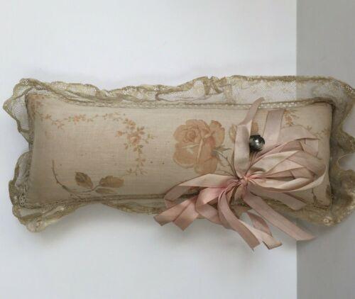 Antique Pink Silk Pin Cushion Log Lace Ribbon Hat Pin Pillow Boudoir Victorian
