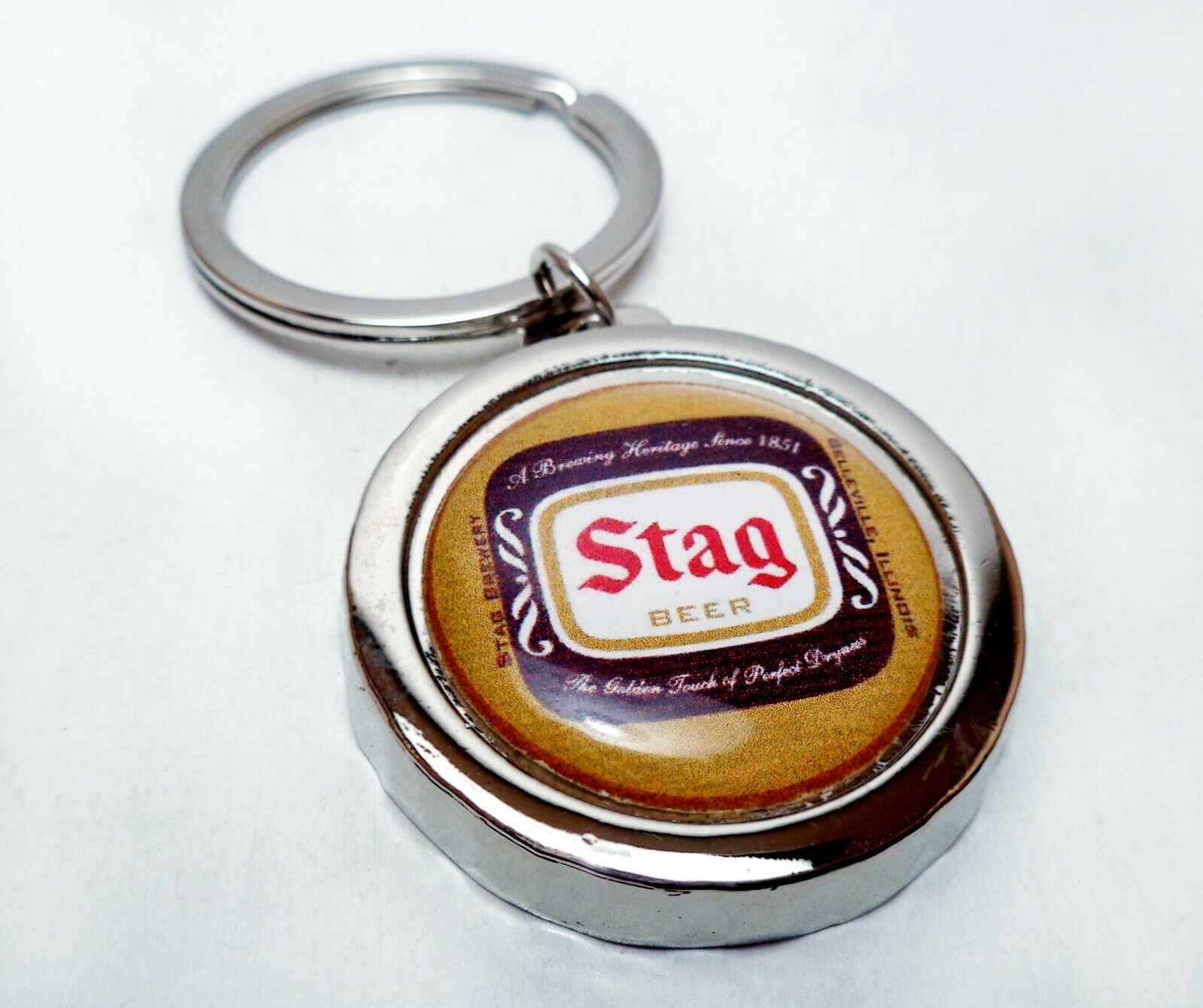 STAG Beer Can Bottle Cap Opener Key Chain / Key Ring Handmad