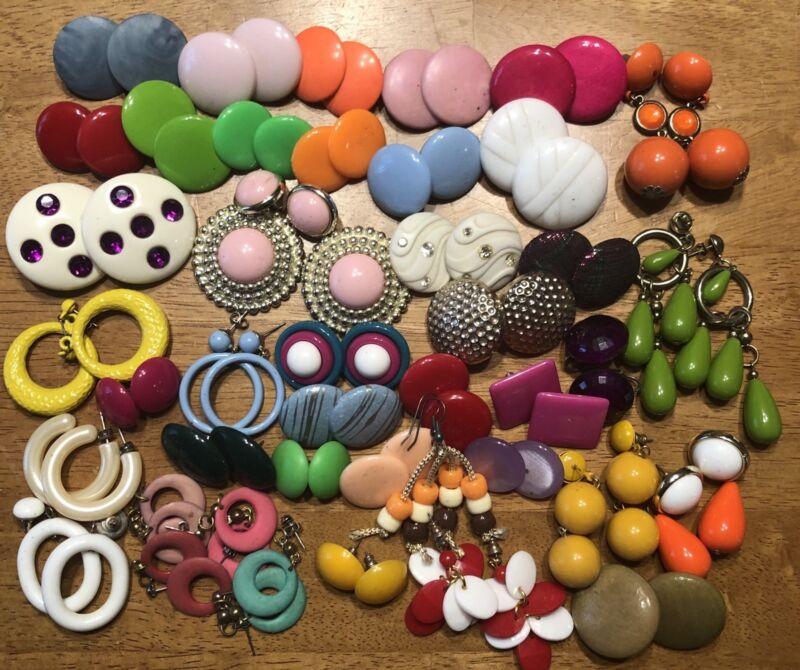 Vtg 70-80's Mixed Plastic Ceramic Wood Stud Hoop Dangle Earrings Lot Of 42 Estat