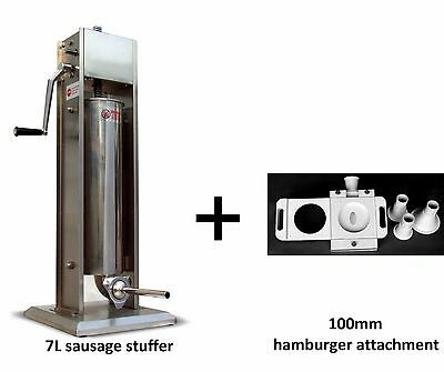 Hakka 7l 2 Speed Stainless Steel Sausage Meat Stuffer With Burger Attachment