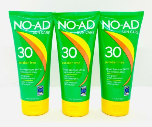3 NO-AD Sun Care Paraben Free Broad Spectrum SPF 30 Sunscreen5 oz (SEE PICTURES)