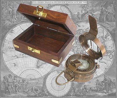 Kompass, Peilkompass aus brüniertem Messing in edler Holzbox (17)