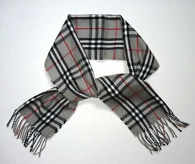 Authentic BURBERRY Nova Check Gray Lambswool Wool Scarf Unisex Made in England!