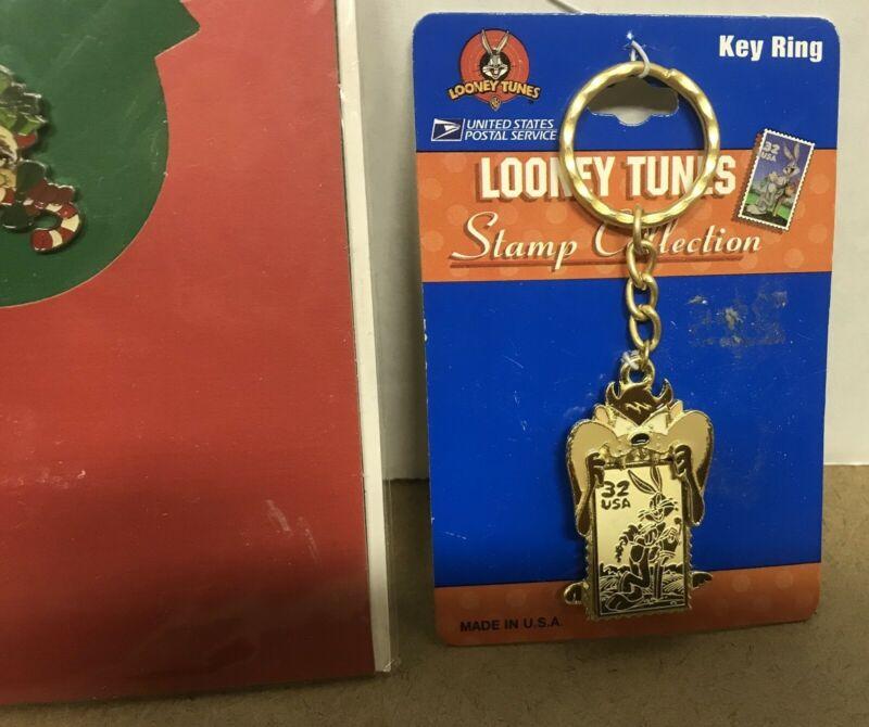 Looney Tunes Taz Tasmanian Devil Collectible Pin Card & Envelope & Keychain New