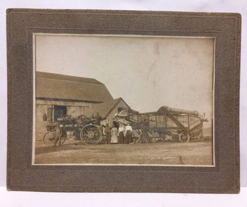 ANTIQUE EARLY CROSWELL MICHIGAN  CABINET PHOTOGRAPH = TRACTOR & THRASHER