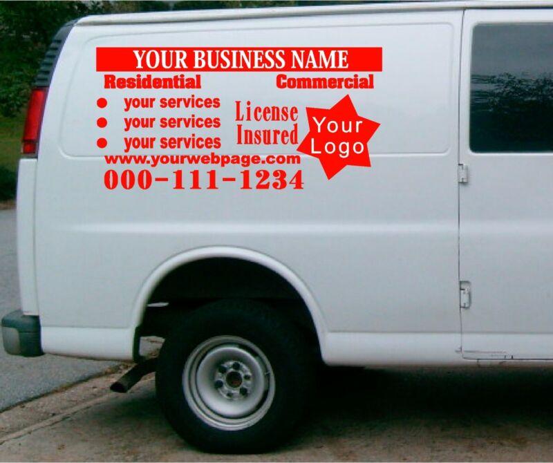 van car vehicle custom vinyl decal lettering  stickers business signs 3 decals