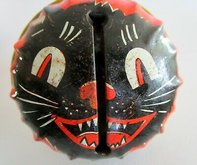 Vintage Black Cat Halloween Noise Maker Metal Rattle Life of the Party Products