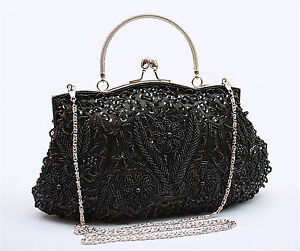 Satin Beaded Handbag Wedding Party Prom Clutch Purse Evening Bag