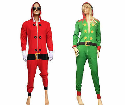 UNISEX CHRISTMAS FANCY DRESS BED TIME ONESIE NIGHTWEAR ELF SANTA XMAS RED GREEN