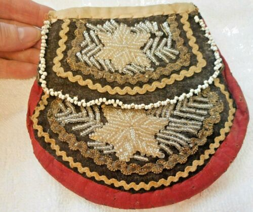 Iroquois beaded pouch, vintage 1910-1930
