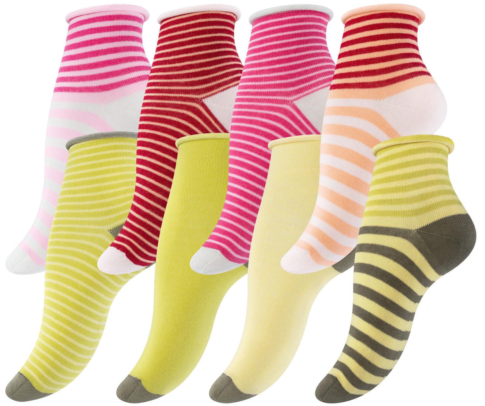 8-12 Paar Damen Socken Kurzsocken Bunte Ringelstrümpfe mit Rollrand ohne Gummi