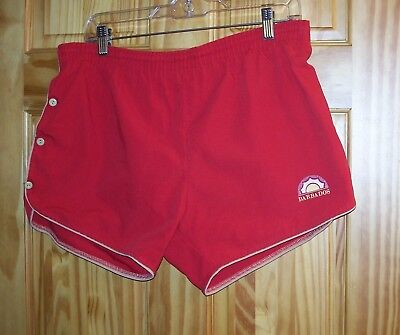 a7d6c23a12 Vintage Barbados Red Swim Trunks Shorts Button-Down Sides Zippered Rear  Pocket L
