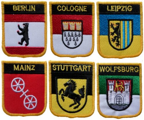Germany Town & City Shield Embroidered Patches - 19 To Choose From
