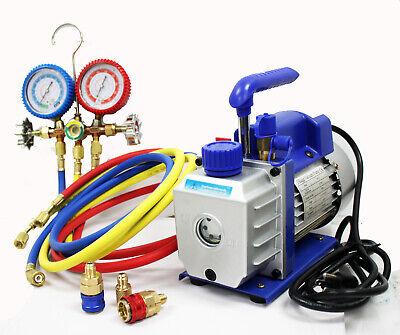 Combo Ac Refrigerant 3cfm Vacuum Pump  R12 R22 R134a Ac Manifold Gauge Set