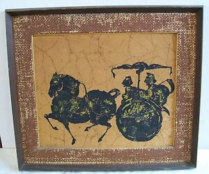 Vintage-Chinese-Horse-and-Carriage-Art-of-Batik-Picture-in-Frame-Handmade