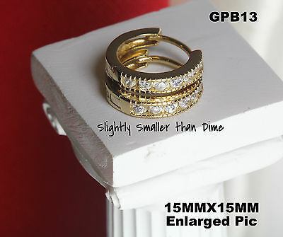 10K GOLD PLATED 925 STERLING SILVER  HUGGIE HOOP SMALL CZ EARRINGS 15MX15M-NEW!
