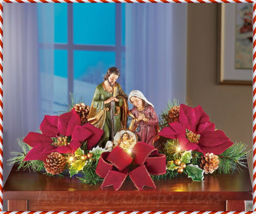 Lighted Christmas NATIVITY SCENE w/ Poinsettias Centerpiece Table Holiday Decor