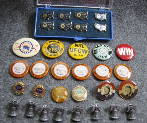 33 UAW United Automobile Workers Buttons Pins 6 Oct 1937 Shop Stewart Union ETC