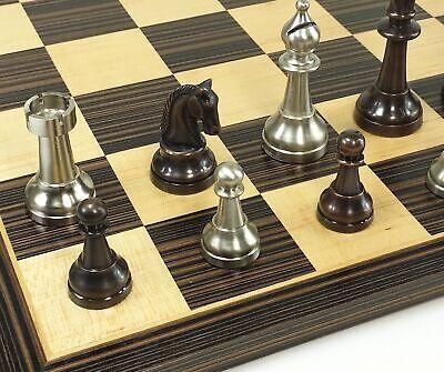 BRASS METAL Antique Bronze & Silver Classic Staunton Chess Set W 17