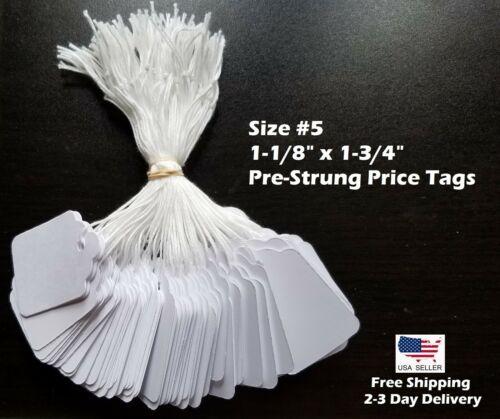 Garage Sale Price Tags Size #5 Blank White Merchandise Hang String Strung