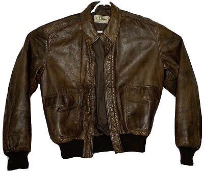Vtg LL Bean Leather Jacket Mens Bomber Jacket Dark Brown MINT 42 sz L
