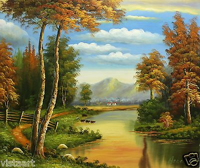"Oil Painting On Stretched Canvas 20""x 24""- Autumn Landscape"