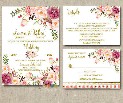 100 Personalized Pink Floral Boho Wedding Invitations Suite with Envelopes
