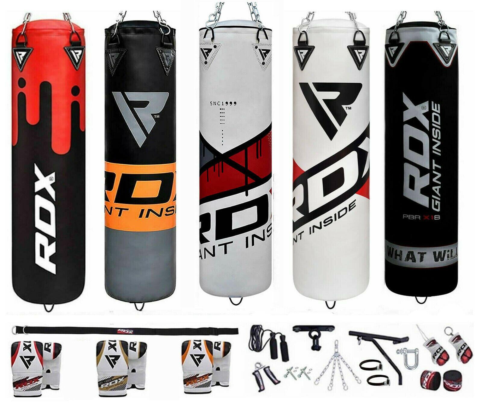 RDX Boxen Boxsack Set Sandsack MMA Gefüllt Boxhandschuhe Halterung Stahlkette DE
