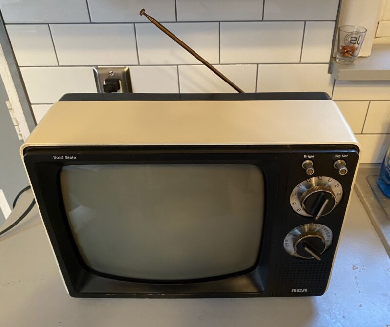 "Vintage RCA TV Retro Black & White Portable 12"" Television For JC Penney, WORKS!"