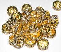 50 Strass Rondelle Perline Distanziatori Oro 8mm Cristallo/trasparente -  - ebay.it