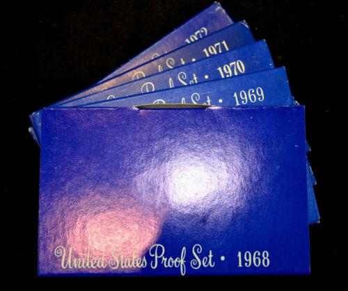 Five U.S. Mint Proof Set Lot - 1968 1969 1970 1971 1972 - Run with OGP