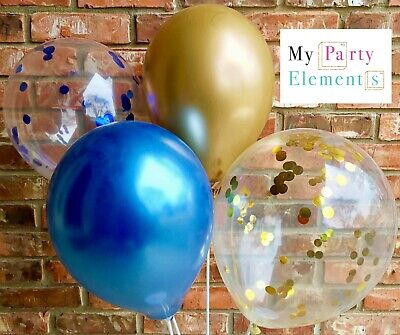 Royal Blue and Gold Balloons Confetti Balloons Metallic Balloons Latex Balloons - Balloons And Confetti